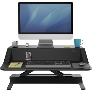 standing desk with workspace